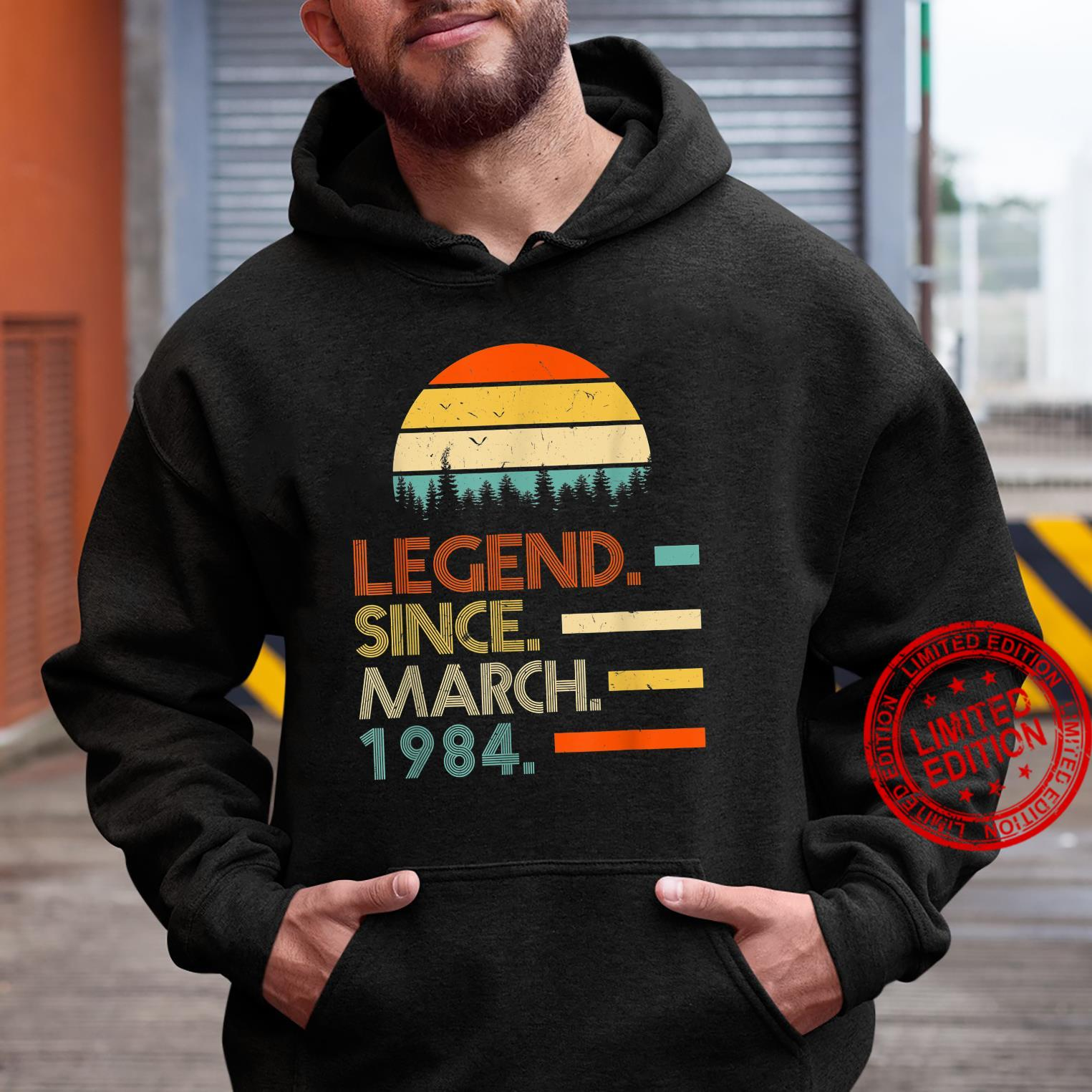 37 Years Old Retro Birthday Legend Since March 1984 Shirt hoodie