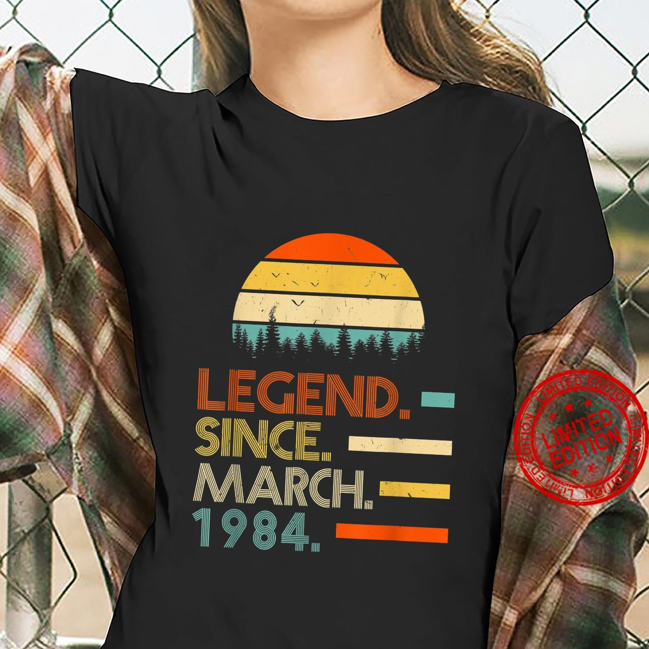 37 Years Old Retro Birthday Legend Since March 1984 Shirt ladies tee