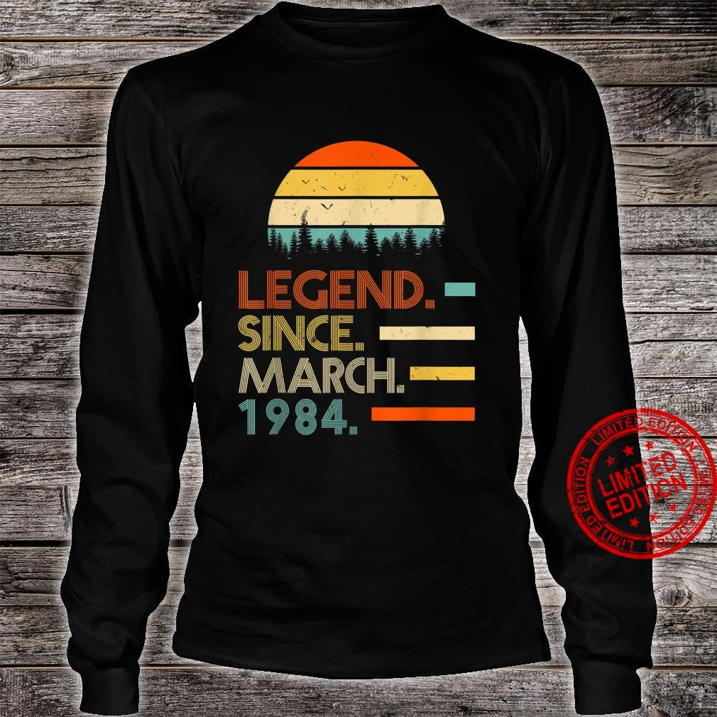 37 Years Old Retro Birthday Legend Since March 1984 Shirt long sleeved