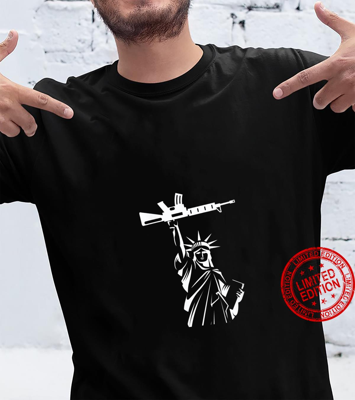 Womens Statue of LIberty Holding a Gun Politics Inspired Shirt
