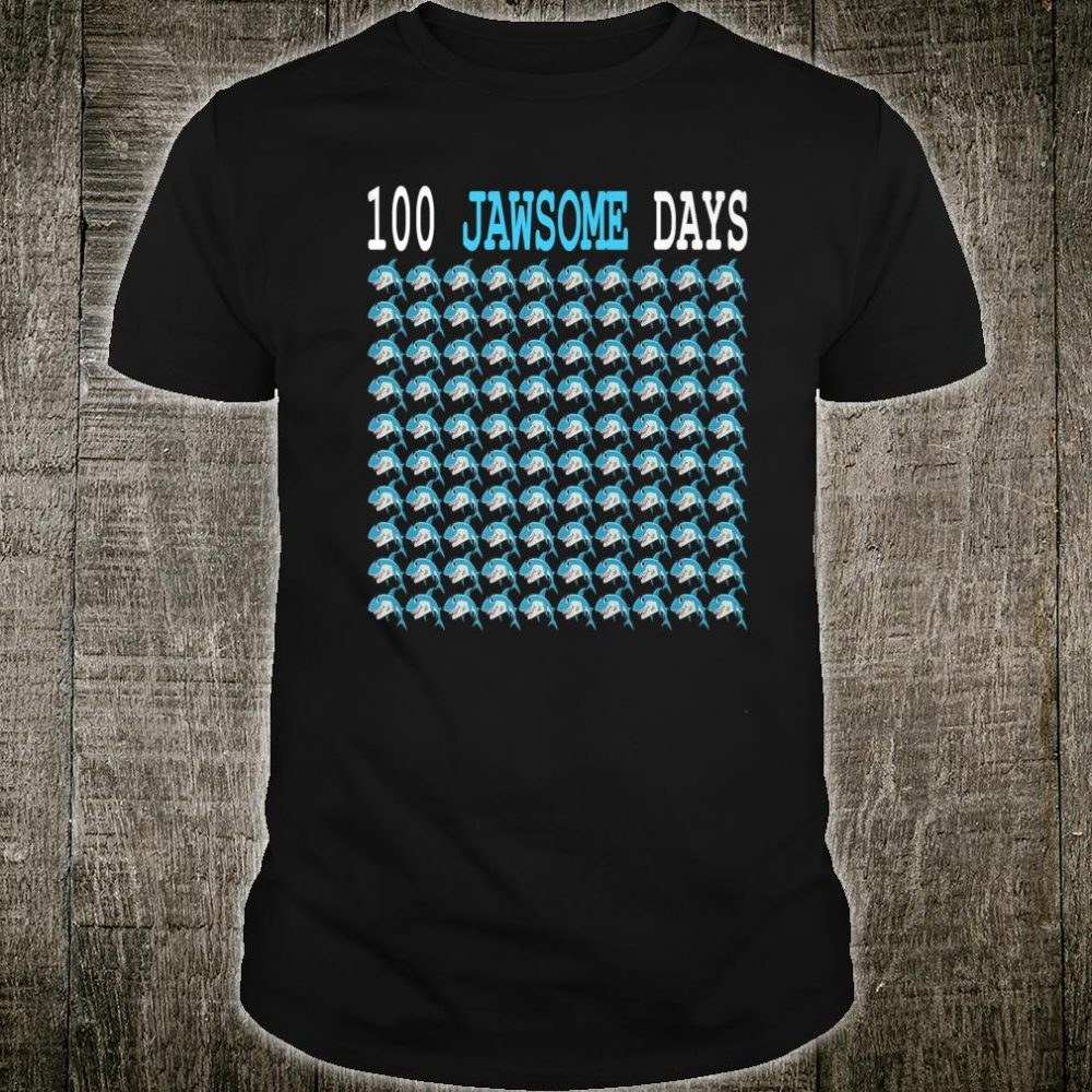 100 Jawsome Days Of School Shark Students Boys Shirt