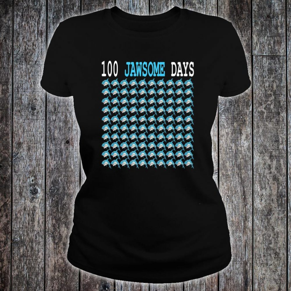 100 Jawsome Days Of School Shark Students Boys Shirt ladies tee