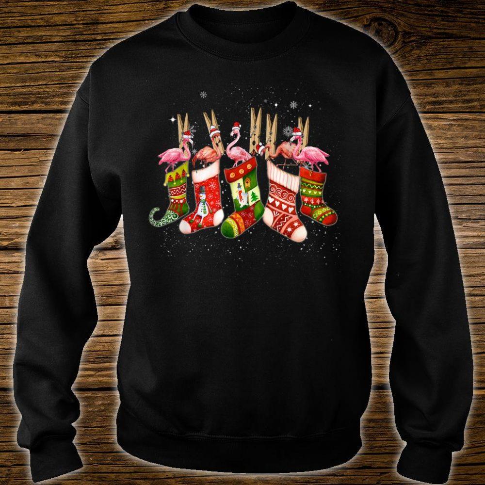 Cute Flamingos In Socks Christmas Santa Hat Xmas Pet Shirt sweater