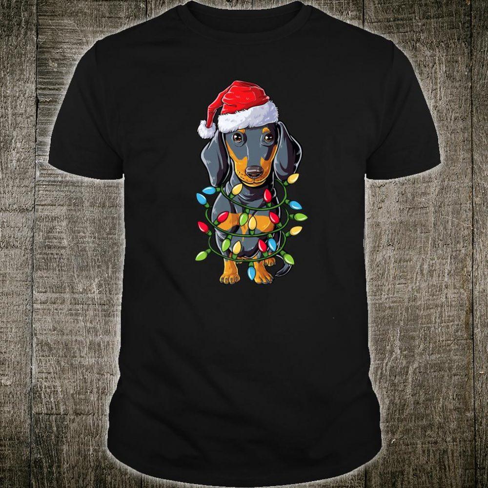 Dachshund Santa Christmas Tree Lights Xmas Boys Shirt
