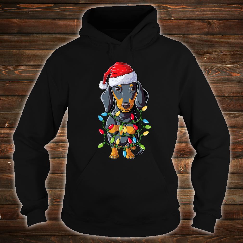 Dachshund Santa Christmas Tree Lights Xmas Boys Shirt hoodie