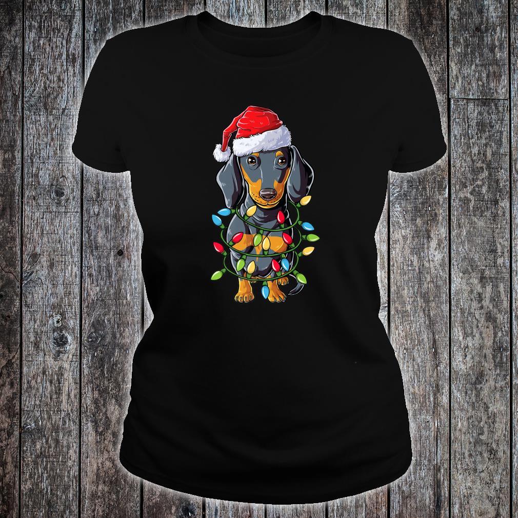 Dachshund Santa Christmas Tree Lights Xmas Boys Shirt ladies tee