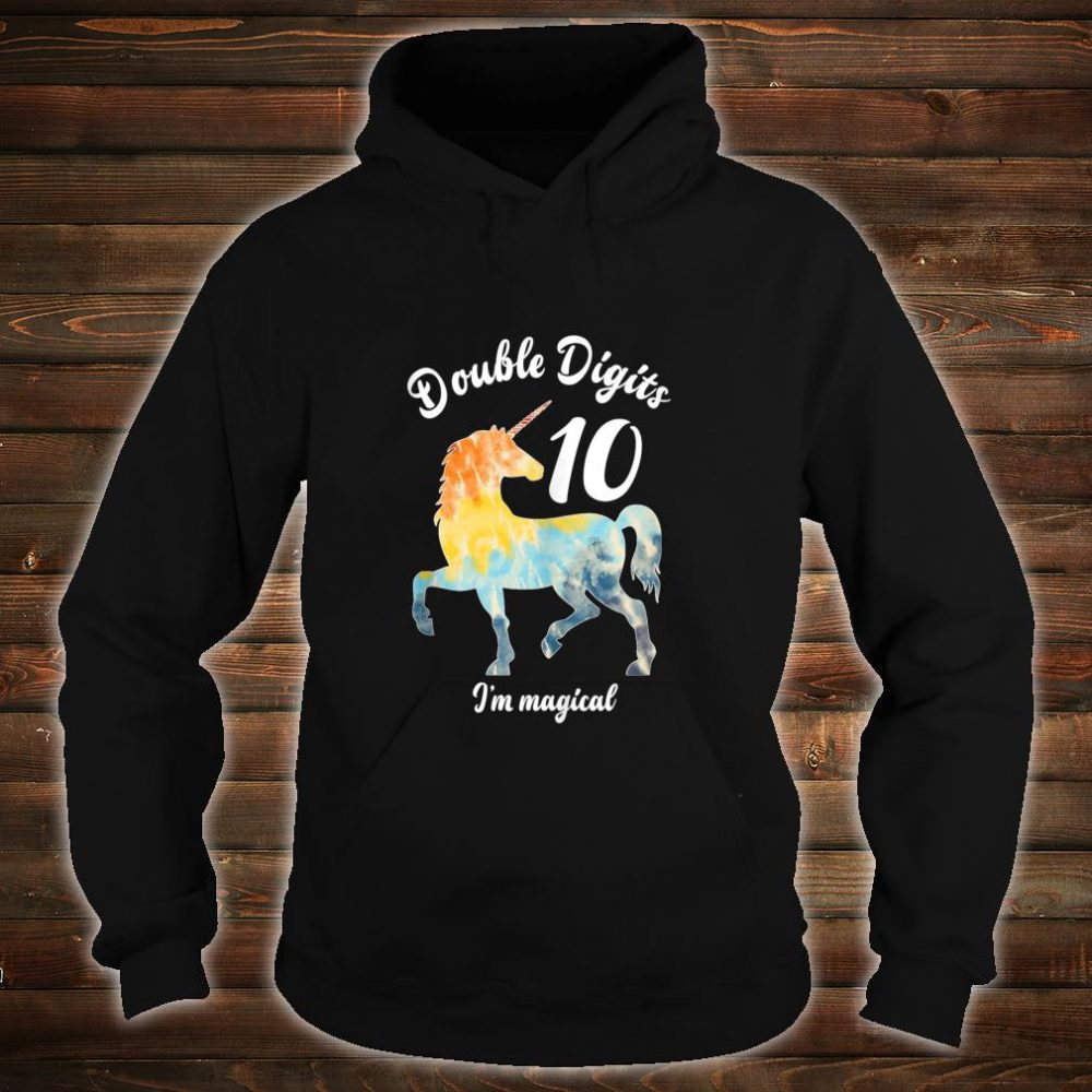 Double Digits 10 Year Old Birthday Multi Color Unicorn Shirt hoodie
