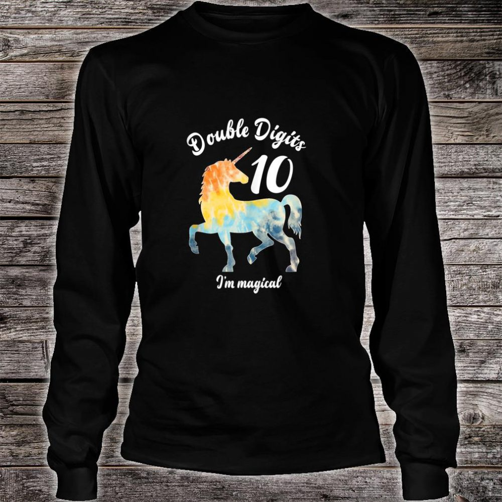 Double Digits 10 Year Old Birthday Multi Color Unicorn Shirt long sleeved