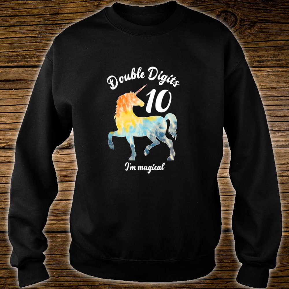 Double Digits 10 Year Old Birthday Multi Color Unicorn Shirt sweater