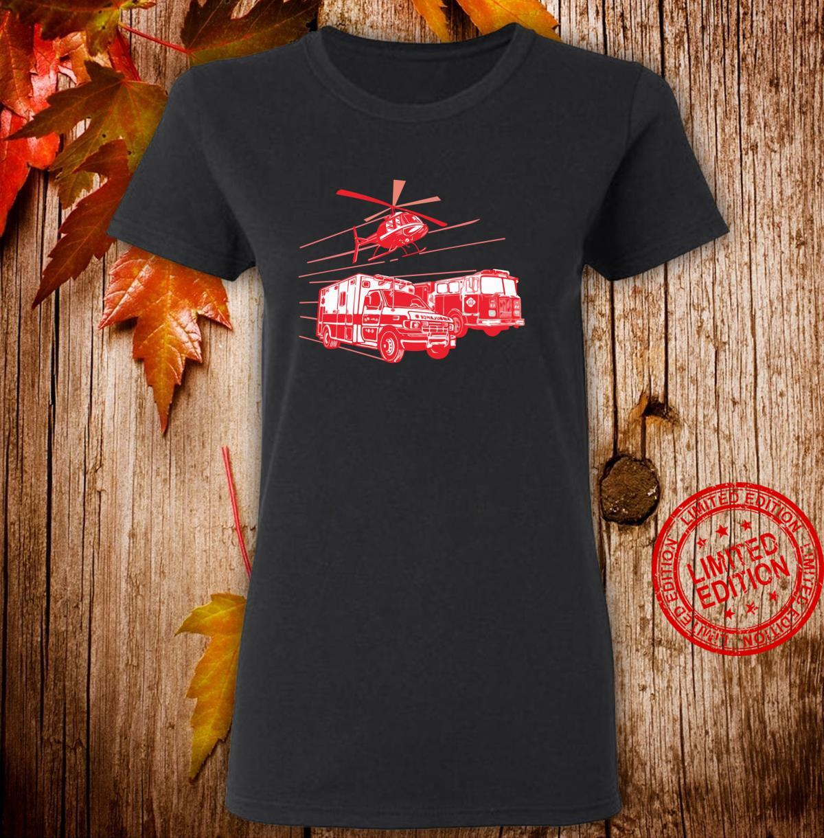 EMS Fire Rescue Truck Helicopter Cute Unique Shirt ladies tee