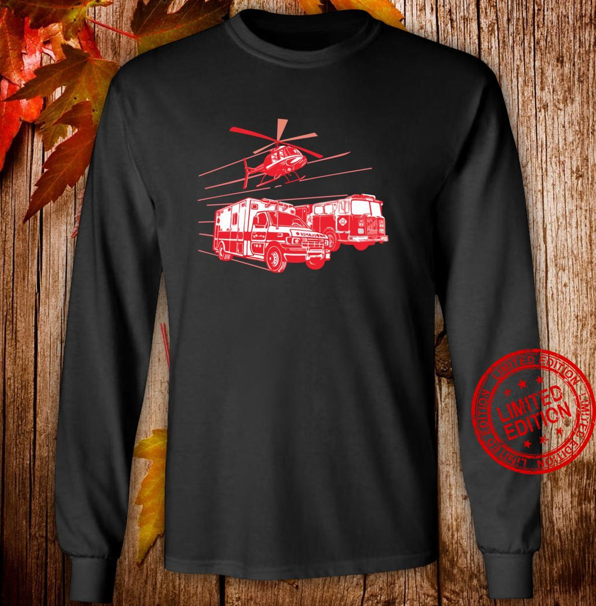 EMS Fire Rescue Truck Helicopter Cute Unique Shirt long sleeved