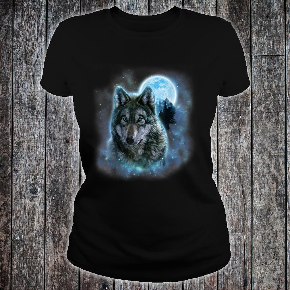 Grey Wolf Hunting Ground, Icy Moon, Forest, Galaxy Shirt ladies tee