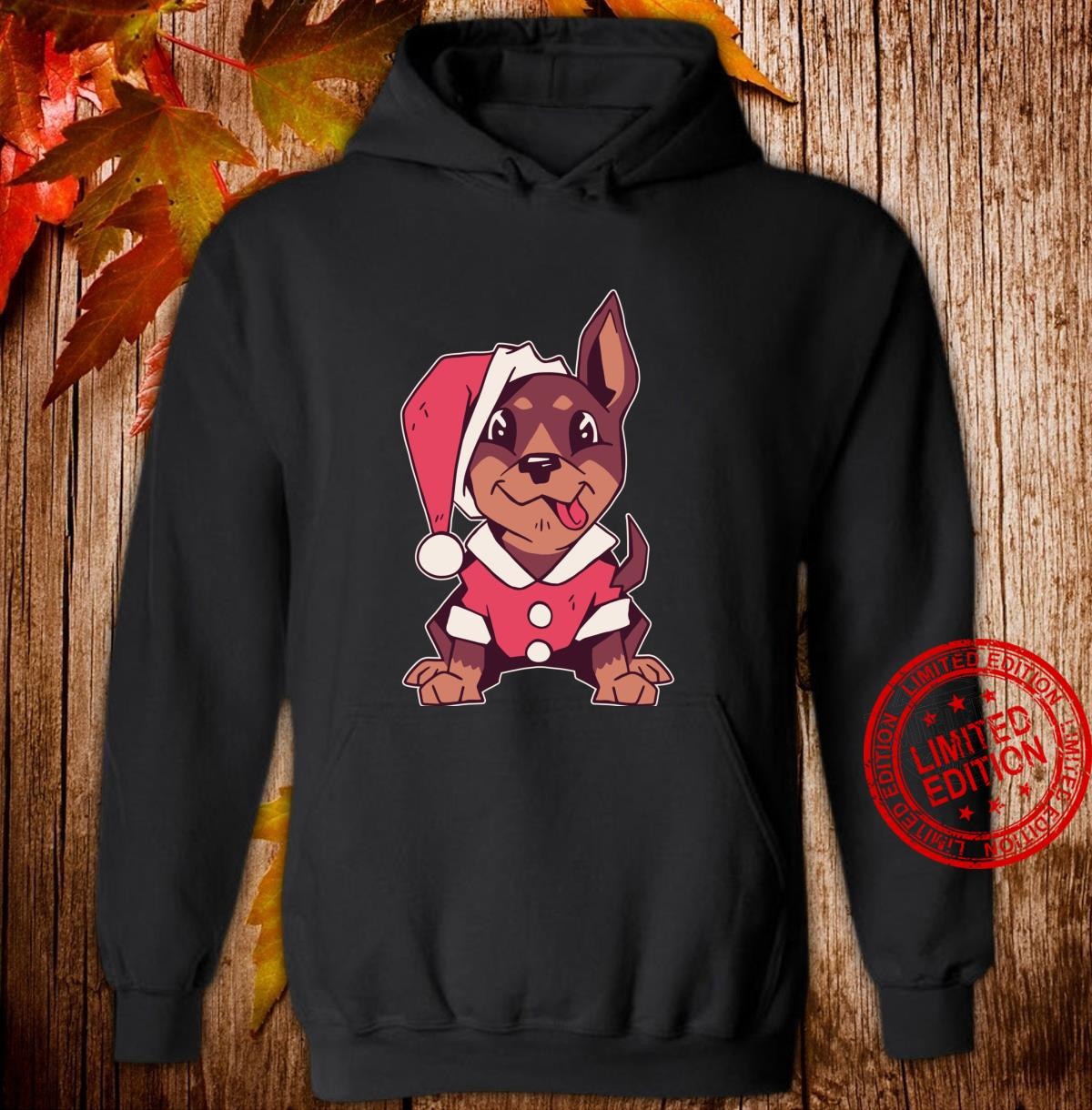 Puppy with Santa costume, Cute Christmas dog tongue out Shirt hoodie