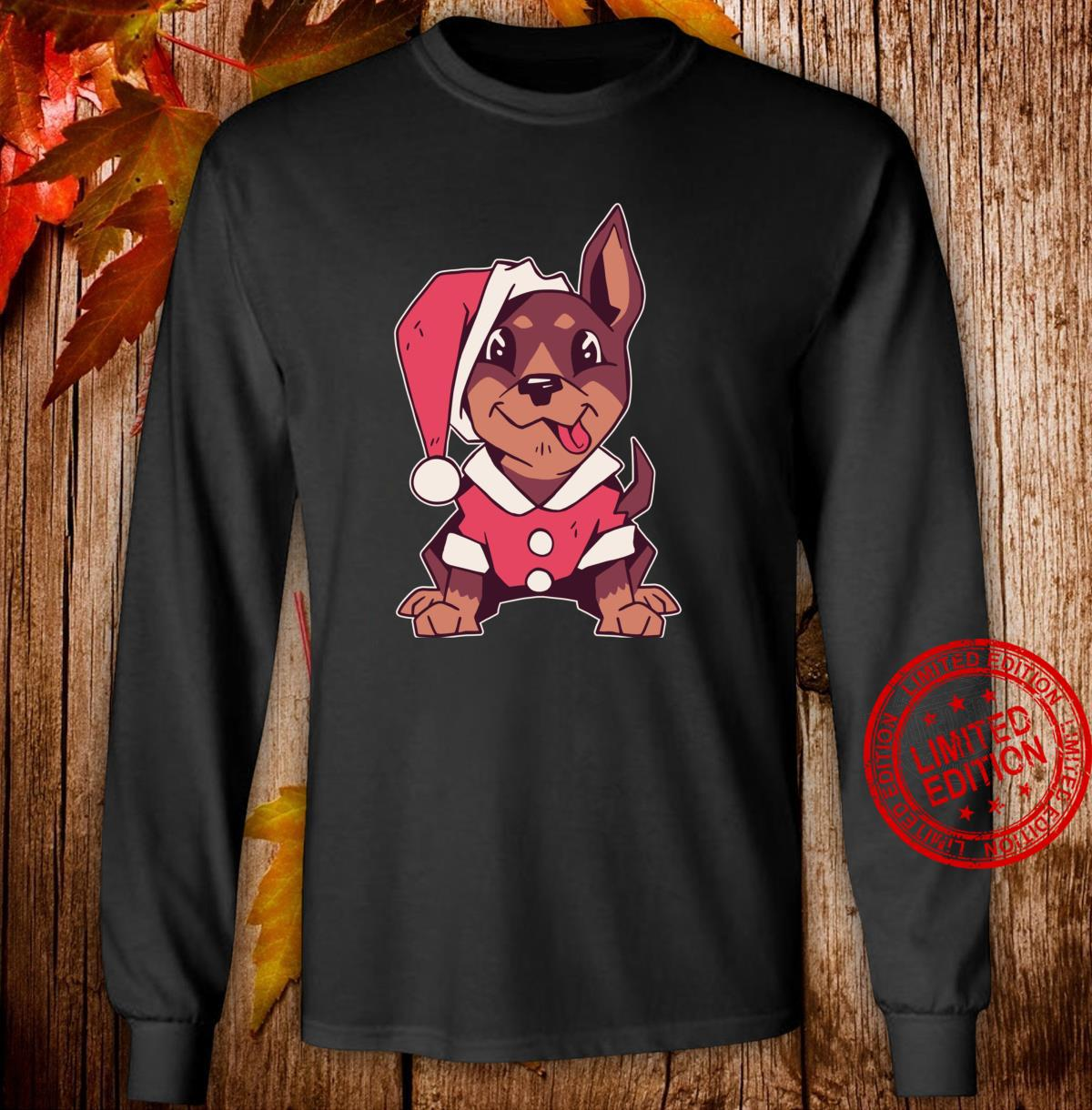Puppy with Santa costume, Cute Christmas dog tongue out Shirt long sleeved