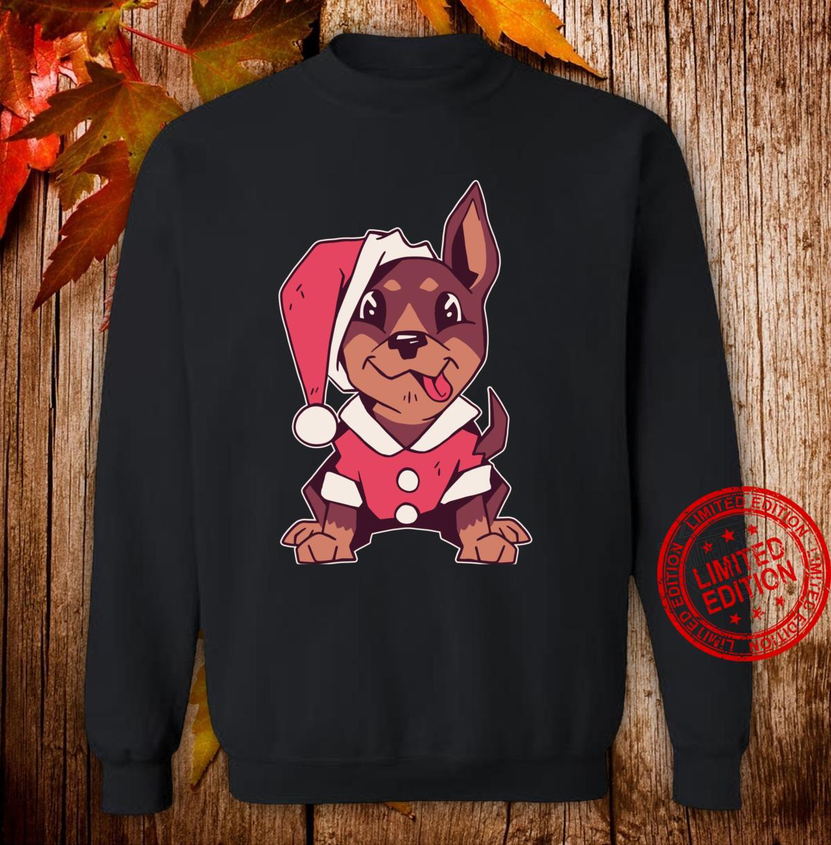 Puppy with Santa costume, Cute Christmas dog tongue out Shirt sweater