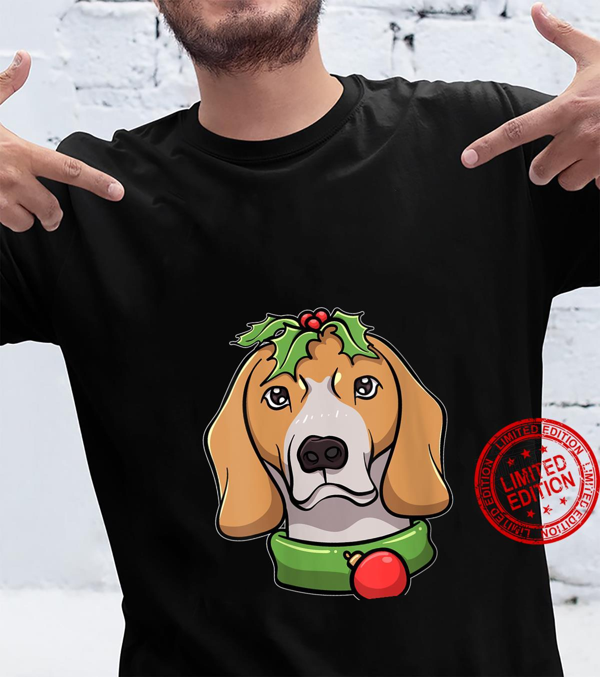 Womens Christmas Beagle Image Red Holly Berry Shirt