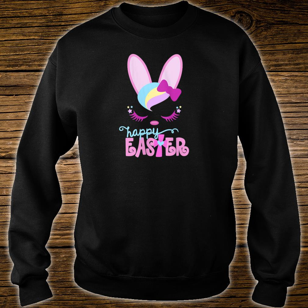 Womens HAPPY EASTER Bunny Sleeping Face Christian Cross Girls Shirt sweater