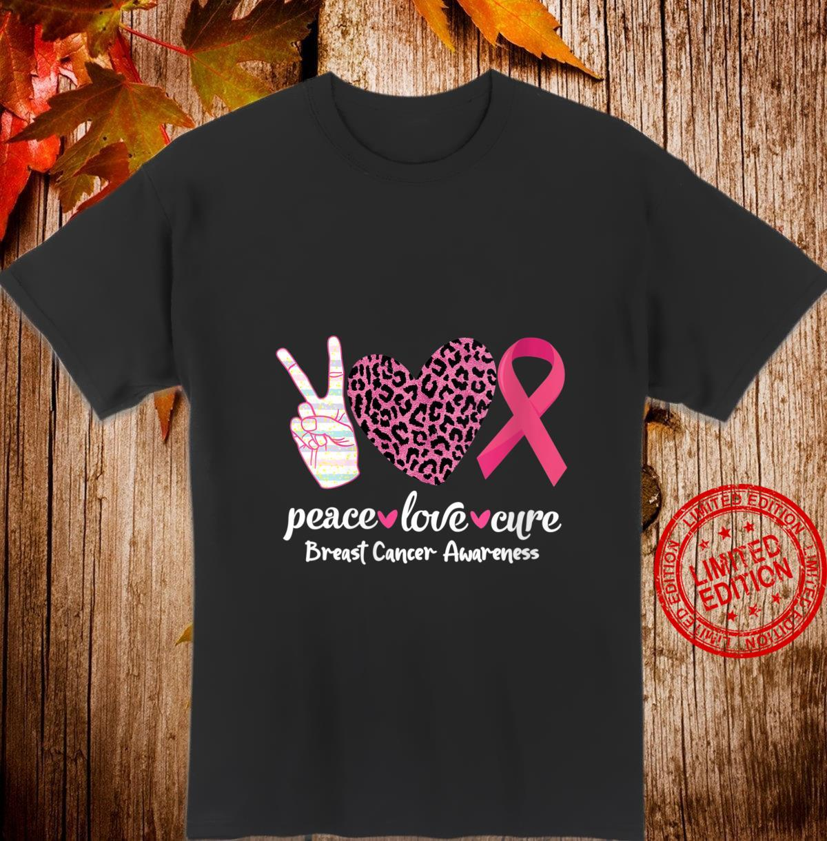 Womens Peace Love Cure Pink Ribbon Breast Cancer Awareness Shirt