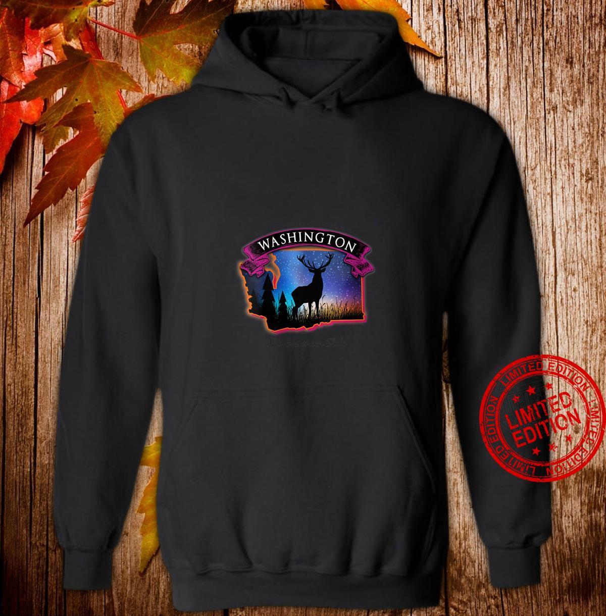 Womens Washington Wildlife Evergreen State Starry Night Sky Shirt hoodie